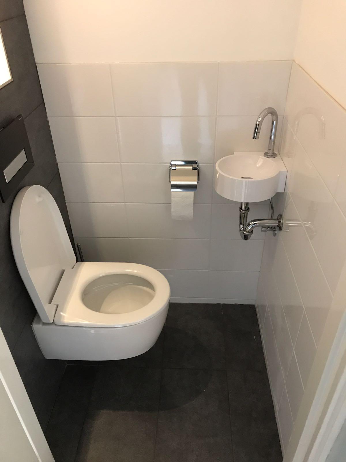 Badkamer en toilet betegeld renovatie maassluis for Toilet betegeld